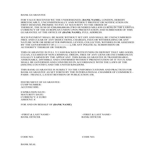 Bank Guarantee   J L Thomas Consulting
